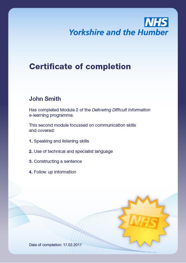 NHS eLearning Certificate