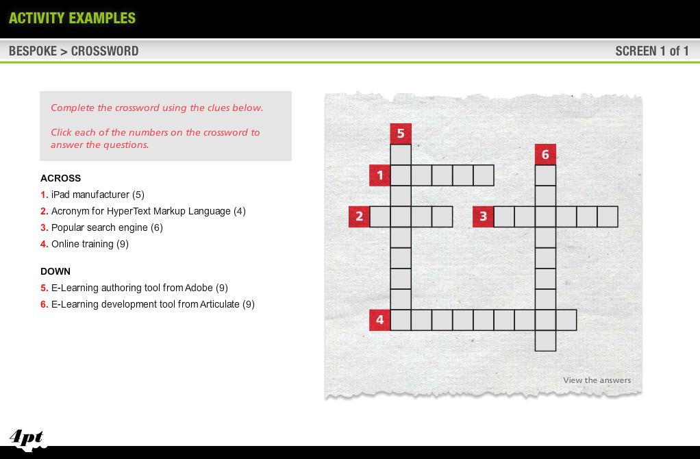 Articulate Storyline Crossword Game
