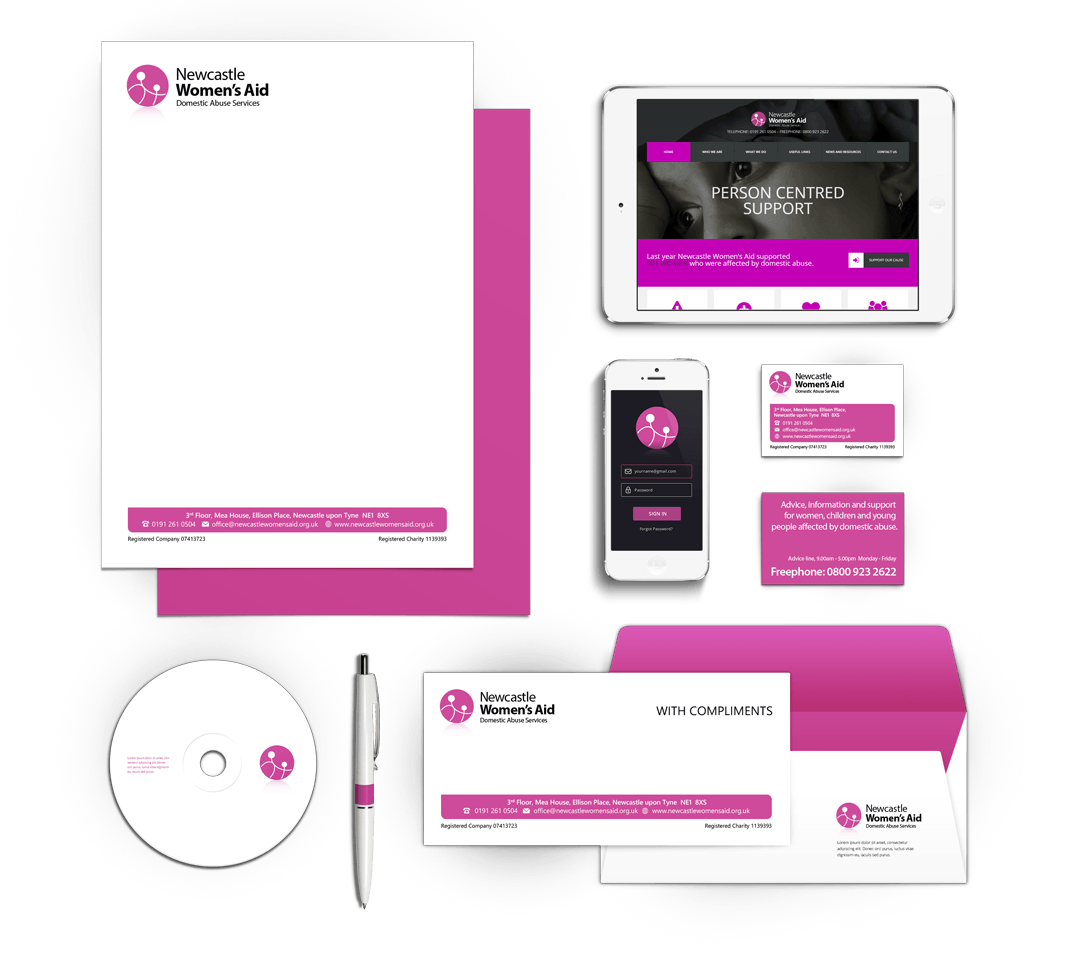 Newcastle Women's Aid Stationery Design by 4pt Limited
