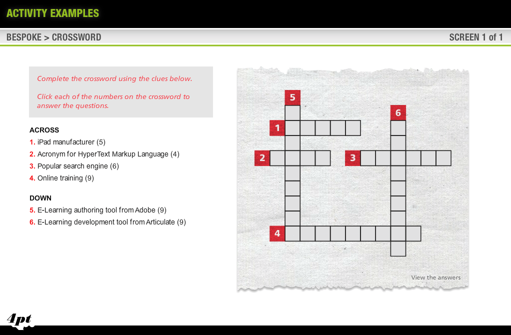Screengrab showing crossword puzzle without answers